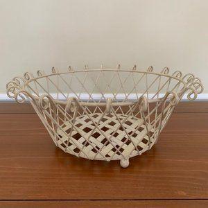 Distressed Metal Lattice Fruit Basket w/Scroll